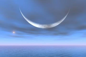 Eclipse de planète dans un monde futuriste