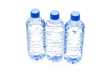 Three bottle of water - isolated object..