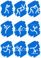 Pictogrammes des jeux olympiques d'été peinture bleu(partie 2)