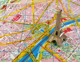 Eiffel tower on Paris map