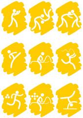 Pictogrammes des jeux olympiques d'été peinture jaune(partie 2)