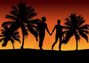 Couple on the Beach (dark orange)