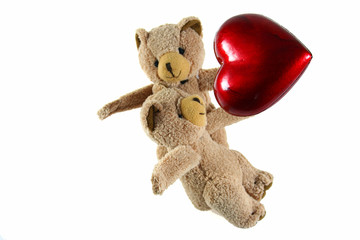 two teddybears with red heart