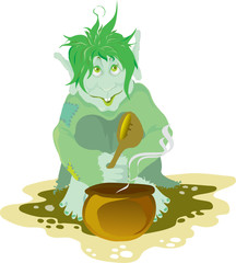 troll eating food from the pot with big spoon