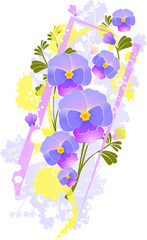 violet  floral  abstract background