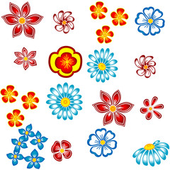 Flowers on white  background. Seamless figure.