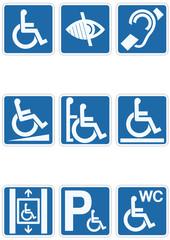 Panneau handicapé bleu classique (détouré)