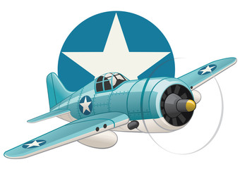 U.S. WW2 plane on air force insignia background