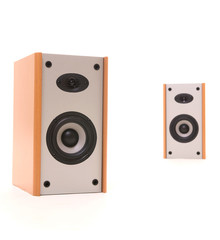 two speakers in perspective