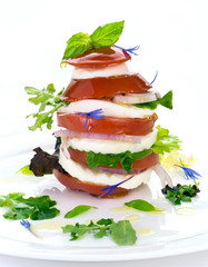 Tomato mozzarella tower with drizzling of olive oil and floweres