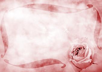Cadre et fleur grunge
