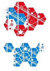 4th of July Eight different hexagon tiles