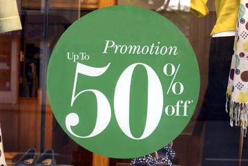 sign. sale. promotion. up to 50 % off