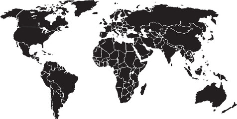 World map, black on White background. (Vector)