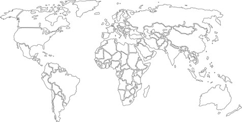 World map, contours only on White background. (Vector)