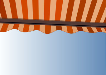 Sunshade over bright sunny blue sky (Vector)