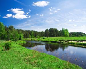 Printed kitchen splashbacks River beautiful summer landscape. river and meadow