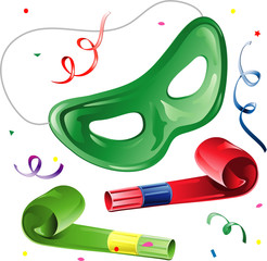 Party mask and blowers