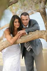 Just Married - bride and groom posing