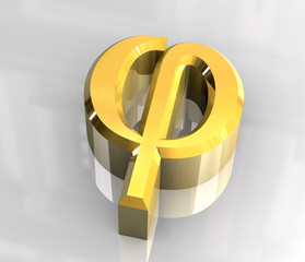 phi symbol in gold (3d)