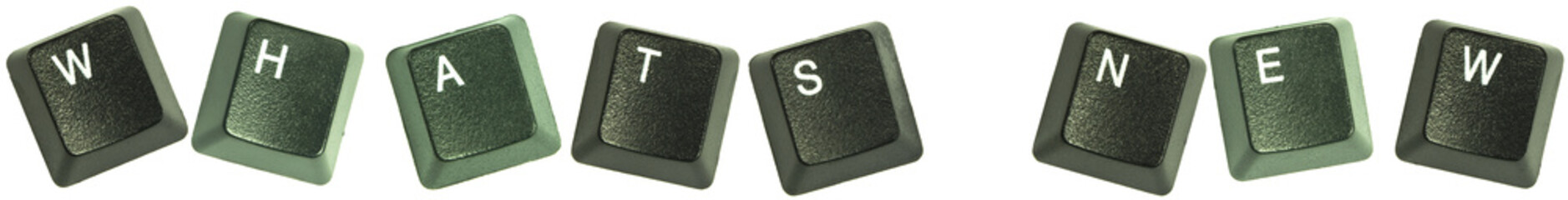 "Keyboard keys spelling out the words ""Whats new""."