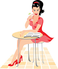 vector woman in red drinking cocktail