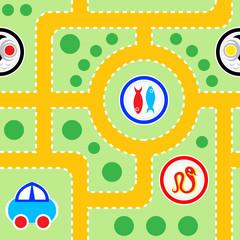 Foto op Plexiglas Op straat Seamless pattern of kids toy-car road with funny signs