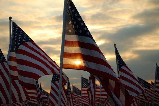 American Flags at Sunset