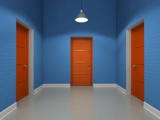 Interior with three red doors