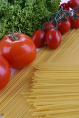 Pasta and vegetables on the table