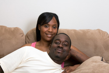 Happy Couple on a Couch-Horizontal