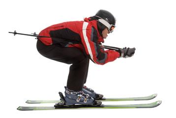 Skier man in aerodynamic pose