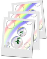 shamrock and bubbles with rainbow polaroid