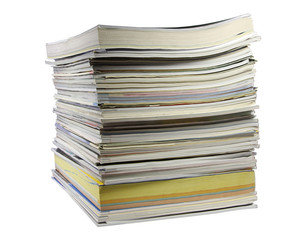 A stack of magazines, low angle closeup