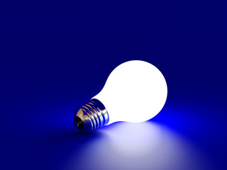 white bulb on a blue background