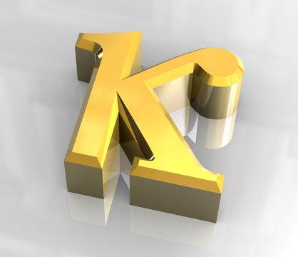 kappa symbol in gold (3d)