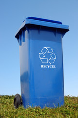 Blue plastic disposal container