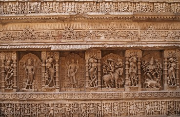 Ancient Hindu Carvings on a Step-Well in Gujarat, India