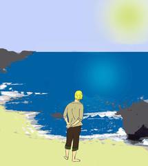 A boy near the sea