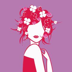 tête de jeune fille rose en fleur