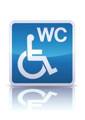 Panneau WC pour handicapés (reflet métal)