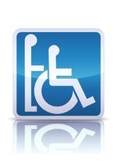 Panneau accompagnateur pour handicapés (reflet métal)