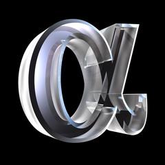 Alpha symbol in glass (3d)