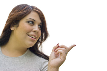 Woman Spanish Woman Pointing Right