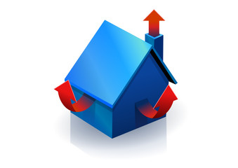 Maison bleu mal isolé (reflet)