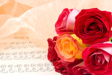 rose on a musical sheet