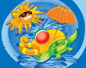 Foto op Plexiglas Rivier, meer Summer Fun (illustration)