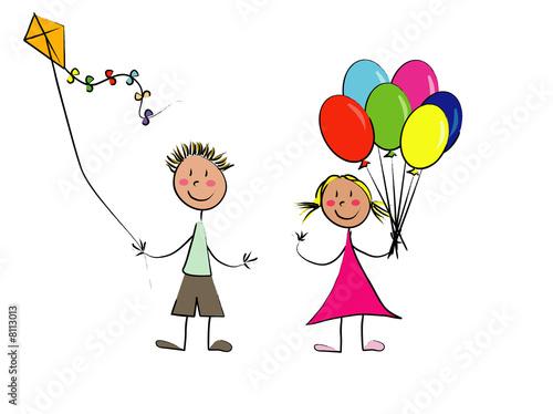 couple d 39 enfant cerf volant et ballons photo libre de. Black Bedroom Furniture Sets. Home Design Ideas