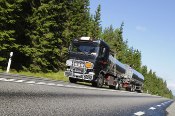 fuel delivery truck on country road