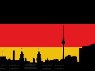Berlin skyline with German flag